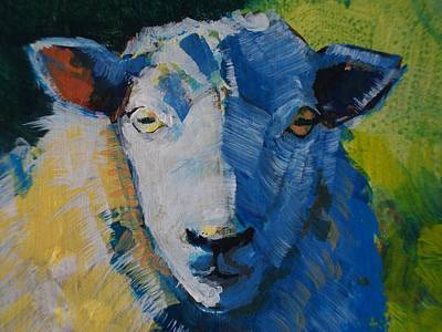 Sheep Painting - Sheep Head by Mike Jory