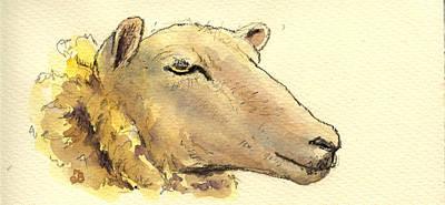 Sheep Head Study Art Print by Juan  Bosco