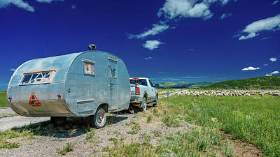 Sheep Herder Camper To Graze Sheep Art Print