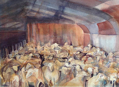 Painting - Sheep Herding by Lynne Bolwell