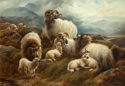 Ram Painting - Sheep In A Landscape, 1894 by Robert Watson