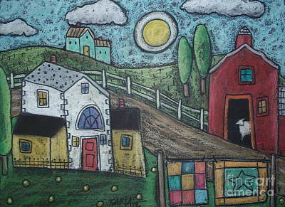Abstract Quilt Painting - Sheep In Barn by Karla Gerard