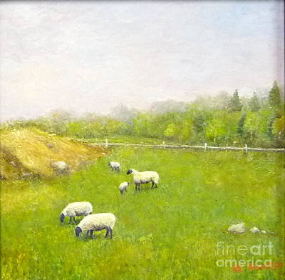 Encaustic Painting - Sheep In Pasture by Al Hunter