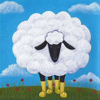 Sheep Painting - Sheep Nursery Art by Christy Beckwith