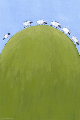 Hills Drawing - Whimsical Sheep Art by Christy Beckwith