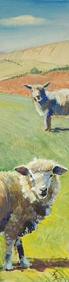 Painting - Sheep Painting Narrow by Mike Jory