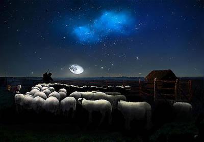 Grim Digital Art - Sheepfold Moonlight by Omar Rubio
