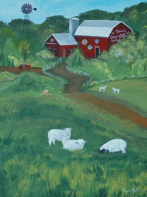 Painting - Sheeps In The Meadow by Virginia Coyle