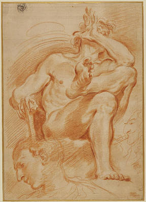 Youthful Drawing - Sheet Of Studies A Seated Nude Man, A Youthful Head by Litz Collection