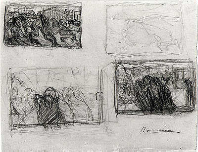Umberto Boccioni Drawing - Sheet Of Studies by Umberto Boccioni
