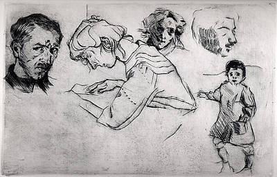 Umberto Boccioni Drawing - Sheet Of Studies With Five Portraits by Umberto Boccioni