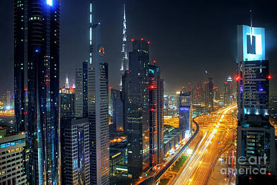 Sheikh Zayed Road In Dubai Print by Lars Ruecker