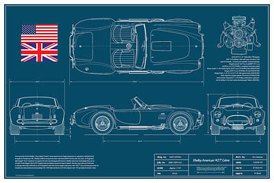 Cobra Digital Art - Shelby American 427 Cobra Blueplanprint by Douglas Switzer