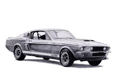 Drawing - Shelby Gt500 by Milan Surkala