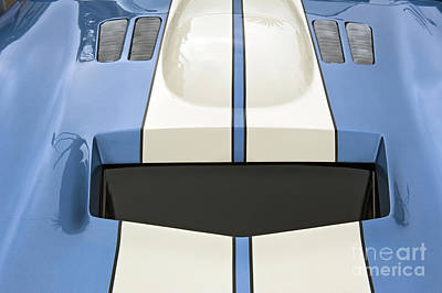 Photograph - Shelby Motors Blue White Stripe Close Up by David Zanzinger