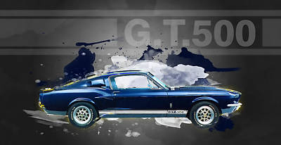Digital Art - Shelby Mustang Gt500 by Guy Dicarlo