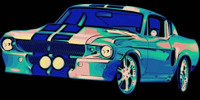 Mustang Car Painting - Shelby Mustang Pop Art by Florian Rodarte