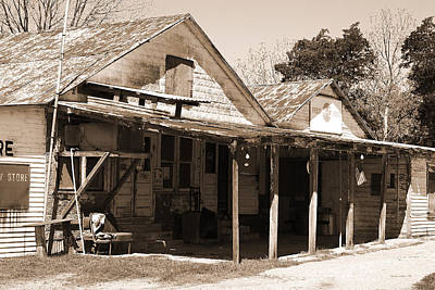 Photograph - Shelby Store - Vintage Texas Sepia by Connie Fox