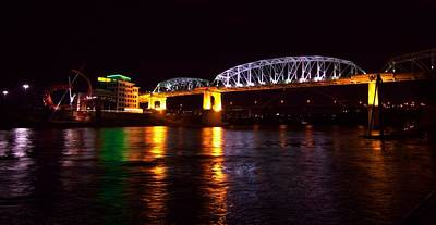 Downtown Nashville Photograph - Shelby Street Bridge At Night by Dan Sproul