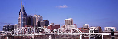 Cumberland River Photograph - Shelby Street Bridge With Downtown by Panoramic Images