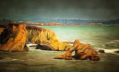 Pismo Beach Painting - Shell Beach After The Storm Digital by Barbara Snyder