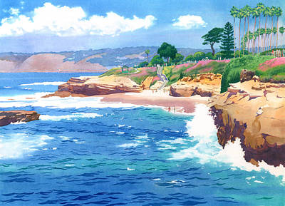 Scenes Painting - Shell Beach La Jolla by Mary Helmreich
