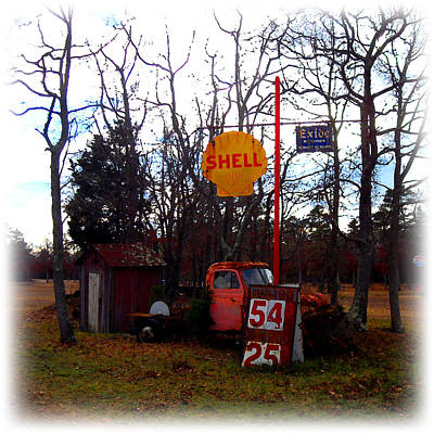 Digital Art - Shell Gas Station And Out House by K Scott Teeters