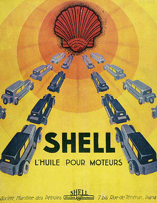Shell Oil For Cars         Date 1929 Art Print by Mary Evans Picture Library