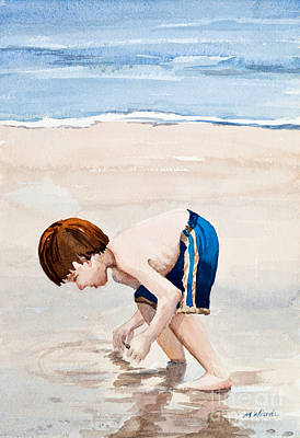 Shelling On The Cape Watercolor Art Print