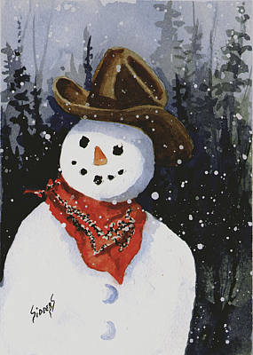 Shelly's Snowman Art Print by Sam Sidders