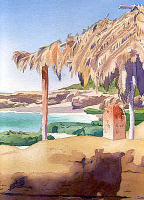 La Jolla Painting - Shelter At Wind 'n Sea Beach Lj by Mary Helmreich