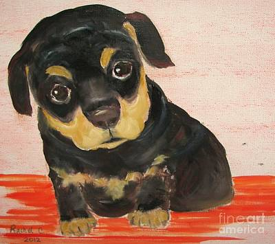 Rotty Painting - Shelter Pup 2. Looking For My Forever Home. by Rachel Carmichael
