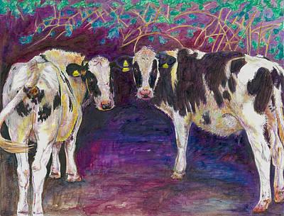 Cow Painting - Sheltering Cows by Helen White