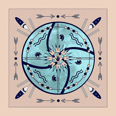 Digital Art - Sheltering Moon Native Symbols Mandala by Deborah Smith