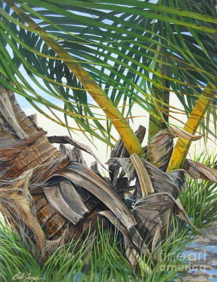Art Print featuring the painting Sheltering Palms by Bob  George