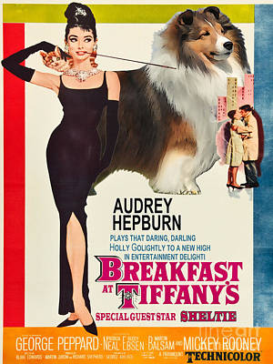 Shetland Sheepdog Painting - Sheltie - Shetland Sheepdog Art Canvas Print - Breakfast At Tiffany Movie Poster by Sandra Sij