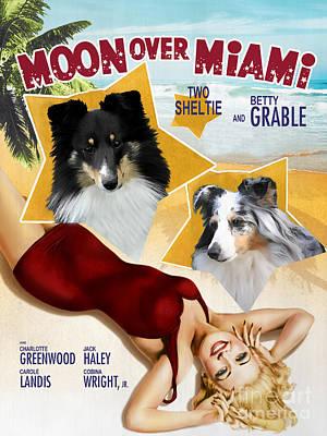 Shetland Sheepdog Painting - Sheltie - Shetland Sheepdog Art Canvas Print - Moon Over Miami Movie Poster by Sandra Sij