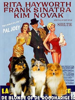 Shetland Sheepdog Painting - Sheltie - Shetland Sheepdog Art Canvas Print - Pal Joey Movie Poster by Sandra Sij