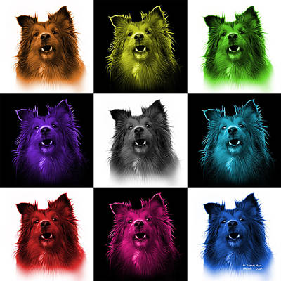 Painting - Sheltie Dog Art 0207 - V2 - M by James Ahn
