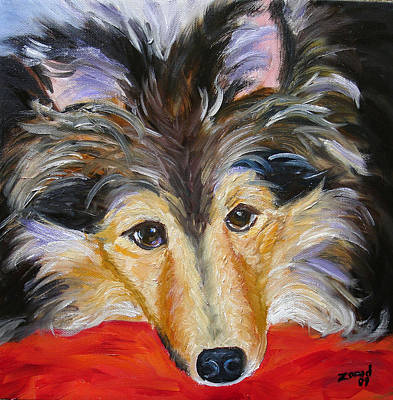 Painting - Sheltie Dog Art by Mary Jo Zorad