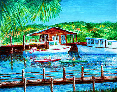Water Activity Drawing - Shem Creek By Jan Marvin by Jan Marvin