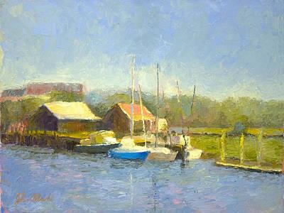 Shem Creek Painting - Shem Creek Docks by John Albrecht