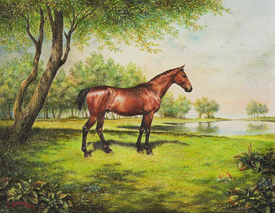Pond Horses Painting - Shenandoah's Hero by Lynn Bywaters