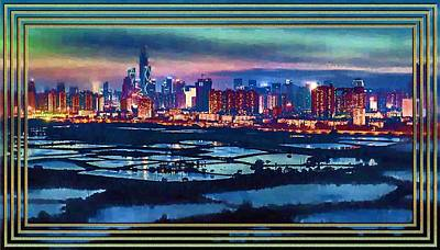 Rice Paddy Painting - Shenzen Across The Rice Paddy Fields by Mario Carini