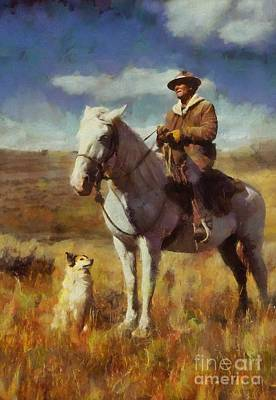 Shepherd And His Dog Art Print by Kai Saarto