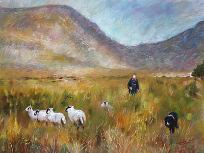 Art Print featuring the drawing Shepherd And Sheep In The Valley  by Viola El
