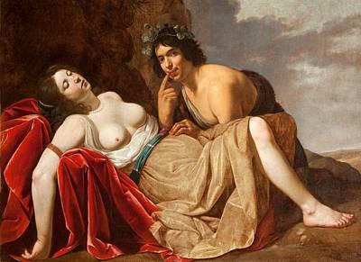 Topless Painting - Shepherd And Sleeping Girl, 1623-30 by Jan van Bijlert or Bylert