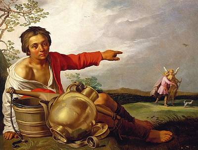 Shepherd Boy Painting - Shepherd Boy Pointing At Tobias And The Angel by Abraham Bloemaert