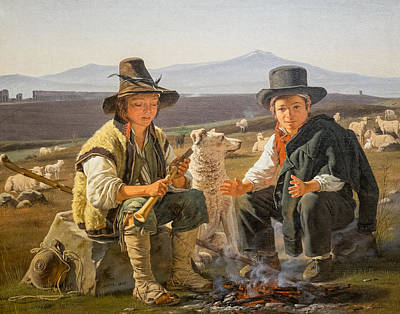 Romantik Painting - Shepherd Boys In The Roman Campagna 1835 by Martinus Rorbye