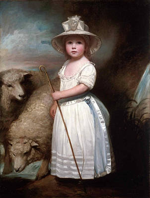 Little Bo Peep Painting - Shepherd Girl. Little Bo-peep by George Romney